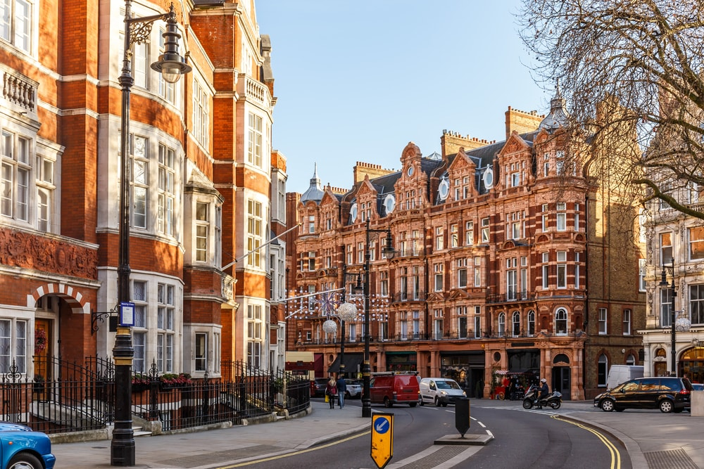 Classic red brick building in Mayfair-London