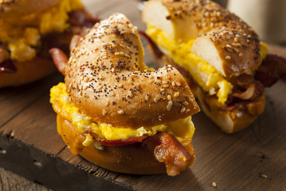 toasted bagels with egg